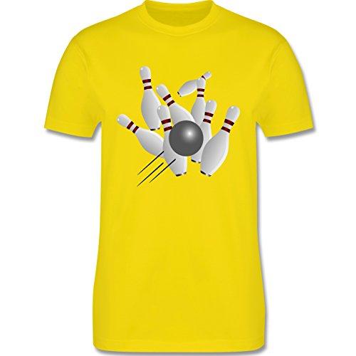 Bowling & Kegeln - Kegeln alle 9 Kegeln Kugel - Herren Premium T-Shirt Lemon Gelb