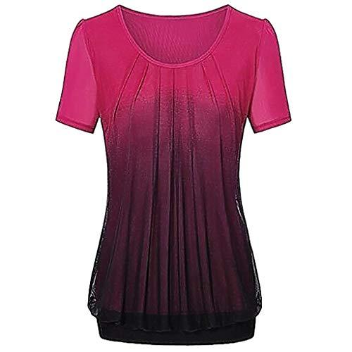 IMJONO 2019 Jubiläumsfeier Frauen beiläufige Steigung gedruckt Plissee Plus Größe Stammes-T-Shirt Tops Bluse(Small,Rot)