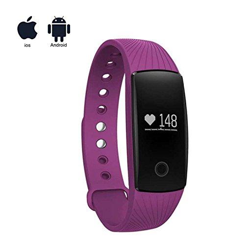 Fitness Tracker Smart Wristband Bracelet Kalorienzähler,Bluetooth Aktivitätstracker Kalorienzähler Herzfrequenzmesser mit Sleep Monitor LCD Touch Screen Sport uhr,kompatibel mit iPhone und Samsung Android