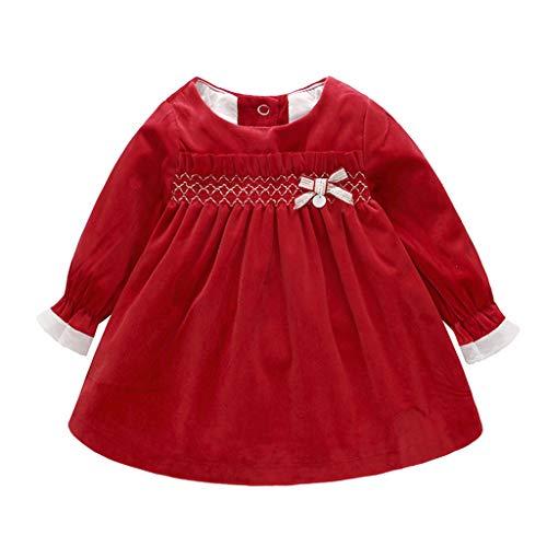 Baby Mädchen Kleid, Samt Prinzessin Kleid Langarm Bogen Minikleid Herbst Kleidung