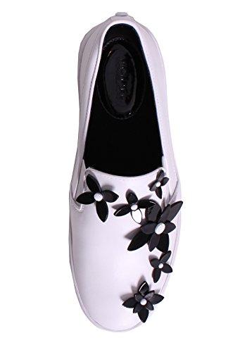 Slip on Michael Kors Lola en peau blanche et fleures noirs Blanc