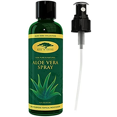 (473 ml) Aloe Vera Spray for Face - Pure Aloe Vera Plant Juice, Perfect topical Moisturizer for Face and Hair, Provides Relief for Sunburn, Eczema, Dry Damaged Skin, Razor Bumps, Acne and Aging Skin