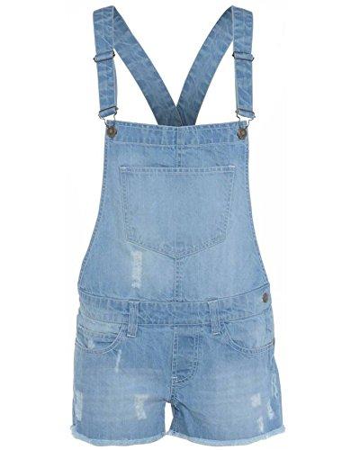 New Kids Latz-Shorts für Mädchen, Jeans mit heller Waschung, Jumpsuit, Dungaree-Shorts Gr. 11-12 Jahre, Light wash