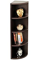 Bluewud Adora Corner Wall Shelf / Display Rack (Wenge, 5 Shelves)