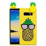 FNBK Handyhülle Silikon für Samsung Galaxy Note 8 Schutzhülle 3D Ananas Hülle Slim Cute Weiche TPU Silikon Gel Schutz Rückseite Schale Bumper Frauen Mädchen Kinder Handy Case