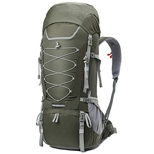 DKfg Outdoor-Camping 75l große Kapazität Bergsteigenbeutel atmungsaktive Sporttasche Wandern Multifunktionsreisetasche (Farbe : Grün)