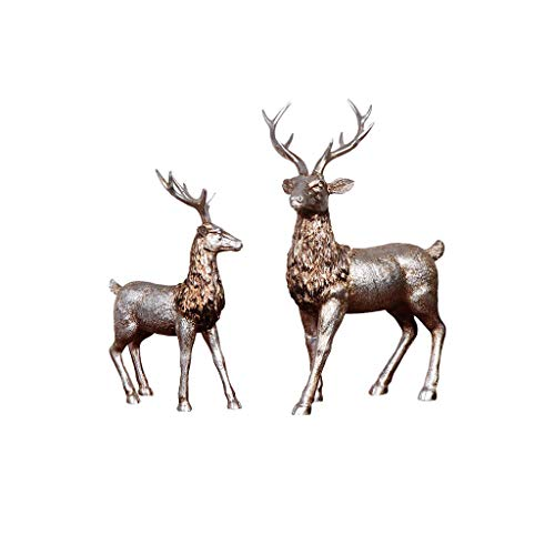 SXLML Moderne Keramik Skulptur , Kreative Ornamente Harz Dekoration Harz Handwerk Geschenk Dekoration Ornamente/Paar Hirsch Modelle/Hirsch Weihnachtsschmuck (Color : Color) -