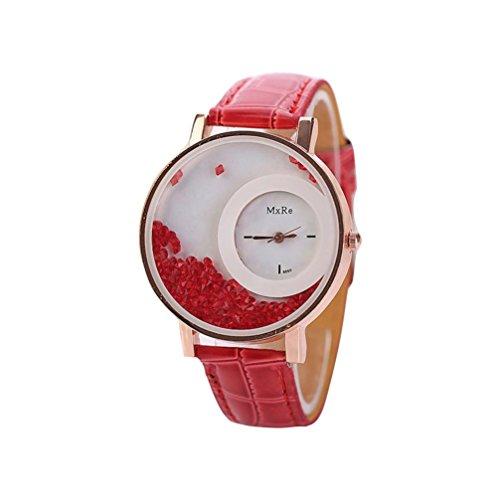 Uhren DELLIN Frau Leder Quicksand Strass Quarz Armband Armbanduhr Uhr (Rot)