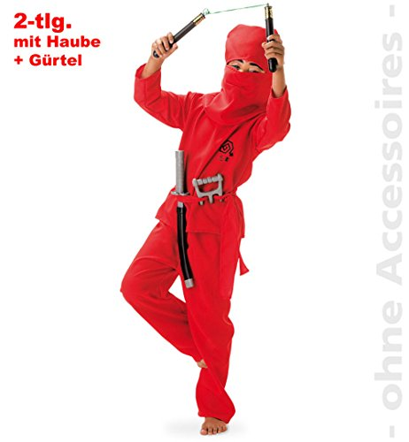 Red Ninja Kostüm - Fries 1837 Red Ninja 2tlg. mit Gürtel und Haube Fasching Karneval Kinder Kostüm: Größe: 128