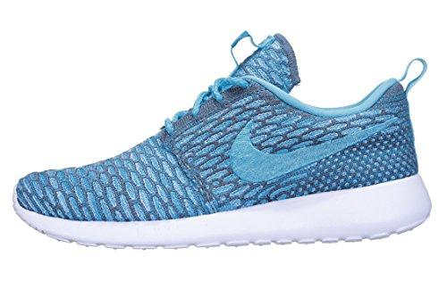 nike mujeres rosherun flyknit zapatillas para correr 704927 zapatillas - gris oscuro agua clara azul legión blanco 003, mujer, 4 UK / 37.5 EU / 6.5 US