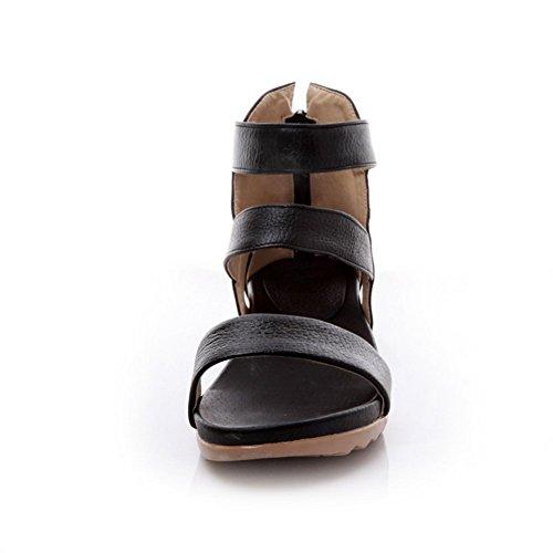 Adee Veste à fermeture éclair solide en cuir Sandales Noir - noir
