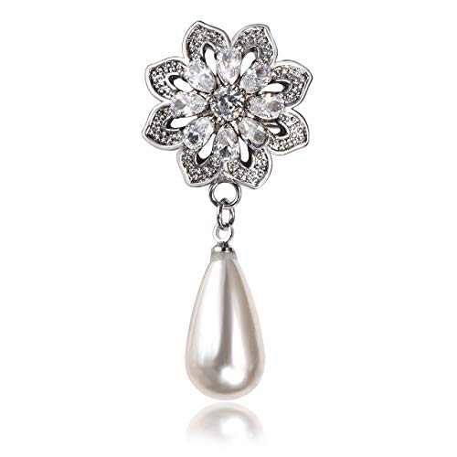 JSDDE Boutique Vintage Damen Zirkon Strass Brosche Wassertropfen Perlen Anstecker Blütenform Nadel für Schal, Revers, Kragen Dekor Silber