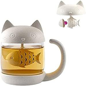 Tazza di tè alla tazza di vetro del gatto della bottiglia dell'acqua con il filtro dell'infusore del tè del pesce Filtro 250ML (8OZ) (Bianco)