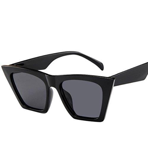 URSING Mode Damen Oversized Übergroße Sonnenbrille Vintage Retro Mode Katzenauge Brille Sonnenbrille Super Coole Damenbrillen Frauen Women Cat Eye Sunglasses Travel Eyewear (Schwarz)