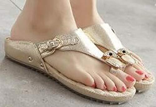 QIMITE Flip-Flop Schuhe Flache Sandalen Sommer Damen Sandalen Mode lässige Bequeme Damenschuhe Größe Strand Mädchen Sandalen Gold Patent Photo Color 40 -