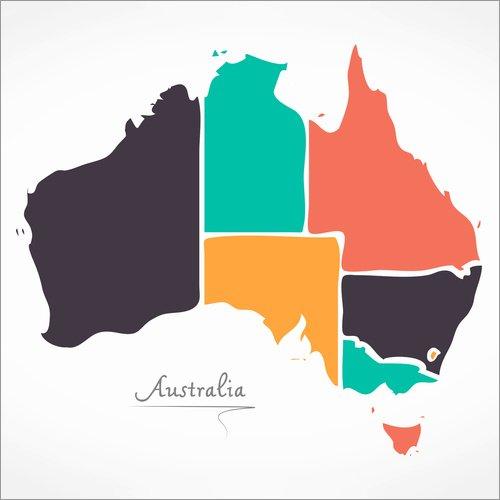Acrylglasbild 80 x 80 cm: Australien Landkarte modern abstrakt mit runden Formen von Ingo Menhard - Wandbild, Acryl Glasbild, Druck auf Acryl Glas Bild