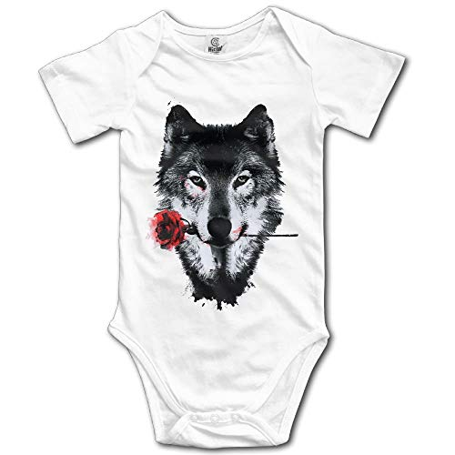 TKMSH Awesome Wolf and Rose Newborn Babys Short Sleeve Jumpsuit Outfits White (Awesome Wolf Kostüm)