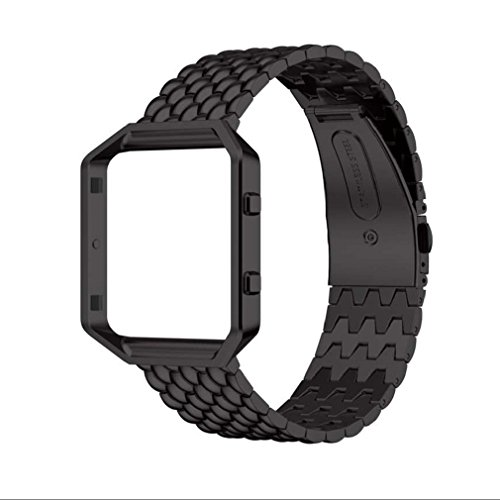 tonsee-echter-edelstahlarmband-smart-band-uhrenarmband-fur-fitbit-blaze-schwarz