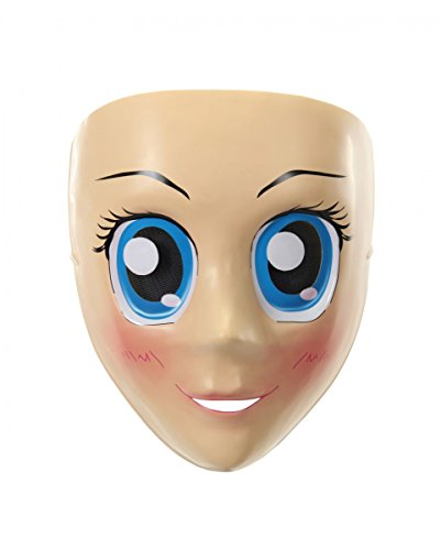 (Anime Halbmaske mit Blaue Augen für Manga & Cosplay Fans)