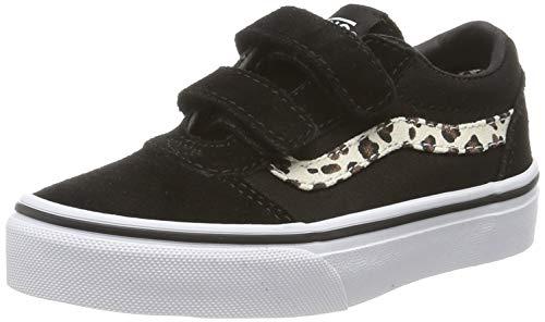 Vans Mädchen Ward V - Velcro Suede Sneaker, Schwarz ((Animal) Black/True White V2p), 31.5 EU Mädchen Vans