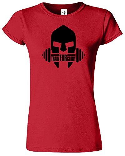 GYM Crossfit Workout Funktions Ausbildung Sport Damen T-Shirt Rot (Red) /  Schwarz