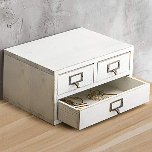 MyGift Vintage Holzschrank mit 3 Schubladen, Weiß -