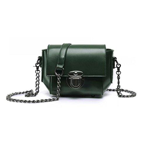 Womens Catena Piggy Borsa Vintage Cinghia Di Cuoio Genuina Delle Signore Di Sacchetto Del Sacchetto Di Spalla,Black Green