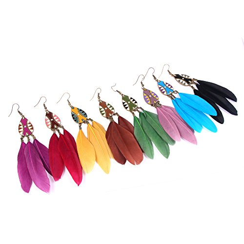VENI MASEE Folk Style Vintage Hand Made Earrings Oil Dripping/Feather/8 Colors Gift Box Included