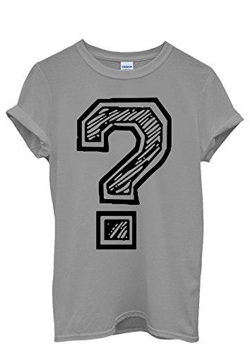 Question Mark Geek Nerd Funny Hipster Men Women Damen Herren Unisex Top T Shirt Grau