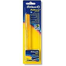 Pelikan Pelikano Junior P67 943407 - Pluma escolar para diestros (incluye cartuchos de tinta azul), color verde y amarillo
