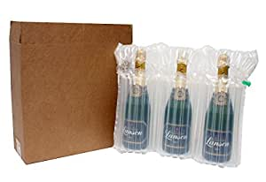 Gonflable Bouteille emballage pour trois bouteilles
