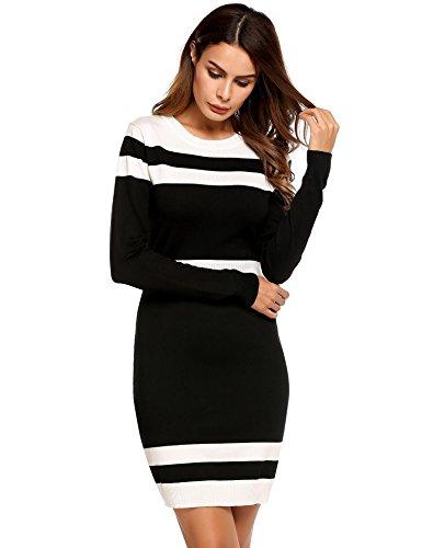 Caeasar Langarm-Kleid Bleistift High-Waist Knielang Kontrastfarbe Pullover Paket Hip Strickware beiläufige unterkleider , farbe - Schwarz , Gr. M