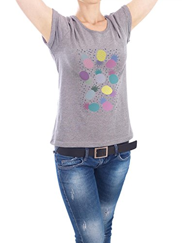 "Design T-Shirt Frauen Earth Positive ""Ananas Party purple"" - stylisches Shirt Essen & Trinken von Michaela Merzenich Grau"