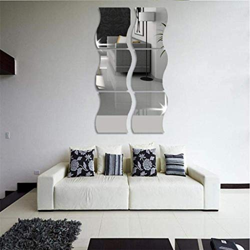 Prevently Wave Spiegeln Wandaufkleber Dekoration DIY Art Wave Spiegel Wandsticker Wandtattoo Wanddeko für Wohnung, Raumdekoration Weihnachten Spiegel