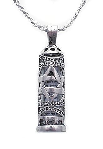 NanoStyle - Silver Mezuzah Necklace - Star of David Pendant