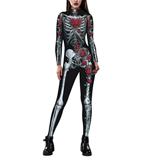 DuuoZy Frauen 3D Skeleton Digital Print Catsuit Spielanzug Overall Cosplay Fantastisches Kostüm Kleid , s , red