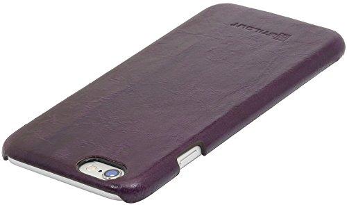 StilGut Premium cover, coque en cuir nappa pour iPhone 6s, édition LIKE BERLIN, noir nappa Pourpre lava