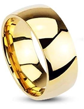 Paula & Fritz® Ring aus Edelstahl Chirurgenstahl 316L vergoldet Klassischer Ehering hochglanz poliert 8mm Breite...