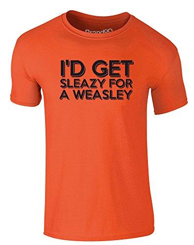 Brand88 - I'd Get Sleazy for a Weasley, Erwachsene Gedrucktes T-Shirt Orange/Schwarz