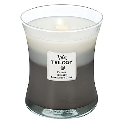 WoodWick 1-Piece Warm Woods Trilogy Medium Jar Candle, Grey by WoodWick