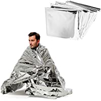 ANGTUO Manta térmica reflectante de emergencia, supervivencia y primeros auxilios, 5 unidades, lámina de color plata