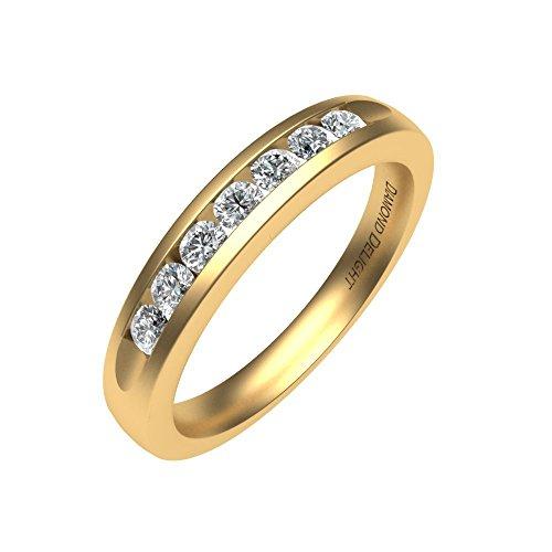 Diamond Delight da donna 18 K, 7 canali di pietra, SI1-Anello nuziale SI2, 1/4 di carato) e Oro giallo, 13,5, cod. RG30288-SI1SI2-18KY-7