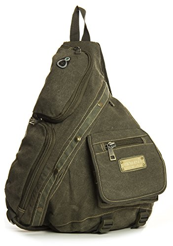 Big Handbag Shop, Borsa a spalla uomo One Army Green (HR129)