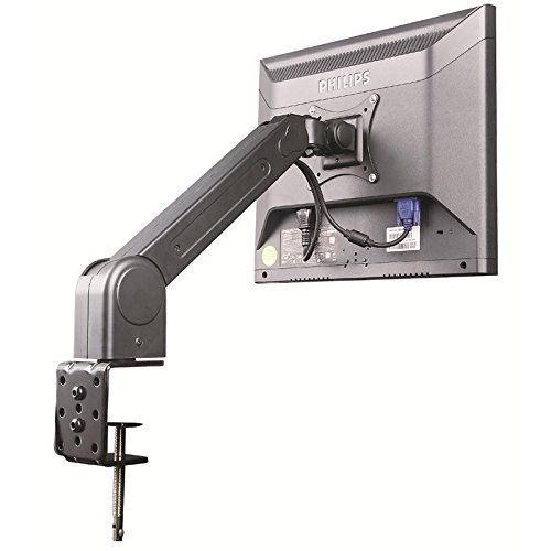 Black single-arm monitor table bracket with clamp, tiltable for Hannspree 20