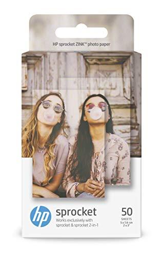 HP Sprocket ZINK - Papel fotográfico adhesivo (50 hojas, 5 x 7,6 cm/2 x 3 pulgadas, acabado satinado)