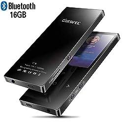 CFZC 16 GB Bluetooth MP3-Player, Hi-Fi verlustfreie Sound MP4 Musik-Player Metall Körper mit Sleep-Timer und Schlüssel-Taste unterstützt SD-Karten bis zu 128 GB-Schwarz