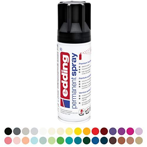 edding 5200 Permanent-Spray - tief-schwarz matt - 200 ml - Acryllack zum Lackieren und Dekorieren von Glas, Metall, Holz, Keramik, lackierb. Kunststoff, Leinwand, u. v. m. - Sprühfarbe