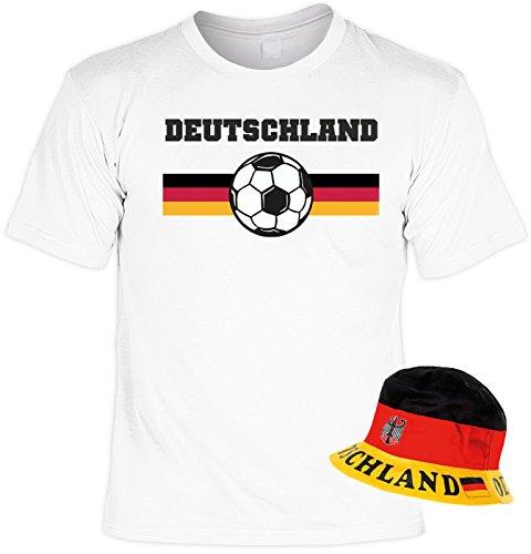 Fußball T-shirt Hut (Fußball Set, T-Shirt mit Hut, Fanartikel, Sonnenhut, Trikot - Deutschland!)