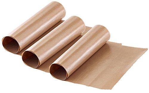 Rosenstein & Söhne Dauerbackfolie: Dauer-Backpapier & Antihaft-Bratfolie aus Glasfaser, beige, 3 Stück (Backofenfolie)