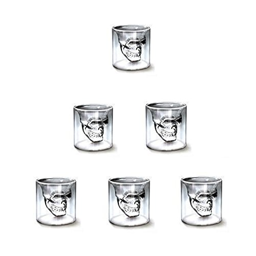 AUVSTAR Totenkopf Schnapsglas, Set von 6(75 ml) Kristall Gläser, Double Layer Transparent Totenkopf Pirat Shotglasses Drink Cocktail Beer Cup,Trinken Ware Becher, dicker Boden Creative Halloween (Mit Getränke Wodka Halloween)